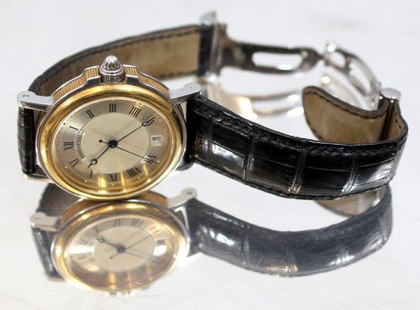 Breguet, orologio da polso, cassa in oro e acciaio, meccanica a carica automatica, bracciale in pelle.