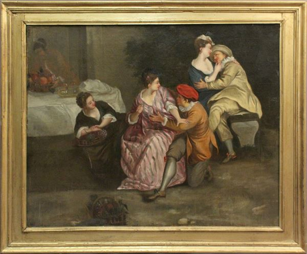 Pittore del XVIII secolo, Scena galante, olio su tela, cm. 70,5x88, entro cornice.