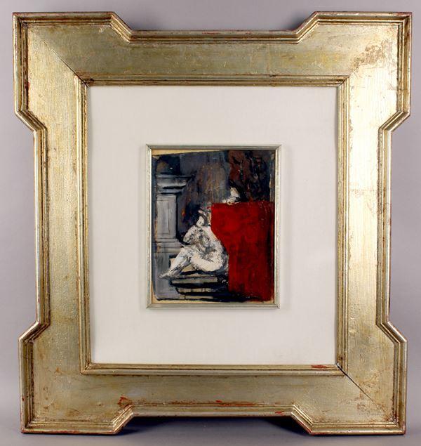 Mario Sironi - Riflessioni, tempera e olio su carta riportata su tela, cm. 23,5x19, (sul retro autentica di Mimì Costa),entro cornice.