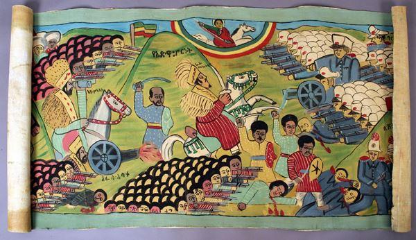 Scuola Etiopia prima metà del XX secolo,  Battaglia Italo-Etiopica, olio su tela, 83x175 cm, (privo di telaio).