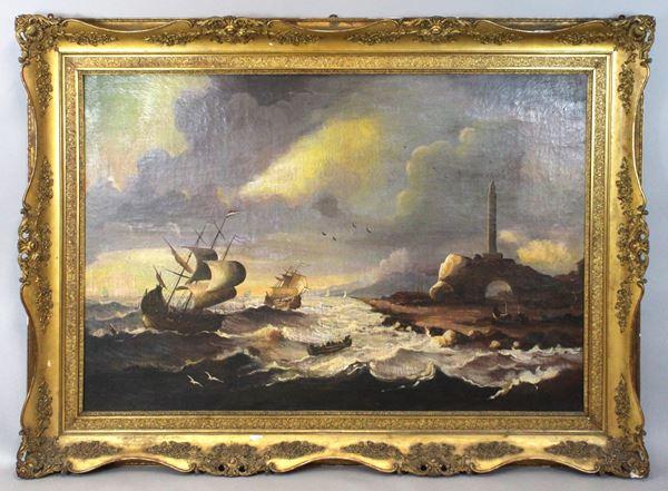 Scorcio di costa con imbarcazioni, olio su tela, cm. 112,5x162, XIX secolo, entro cornice.