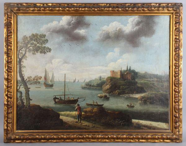 Scuola Veneta del XVIII secolo, Paesaggio costiero con imbarcazioni, olio su tela, cm. 49,58x65, entro cornice.