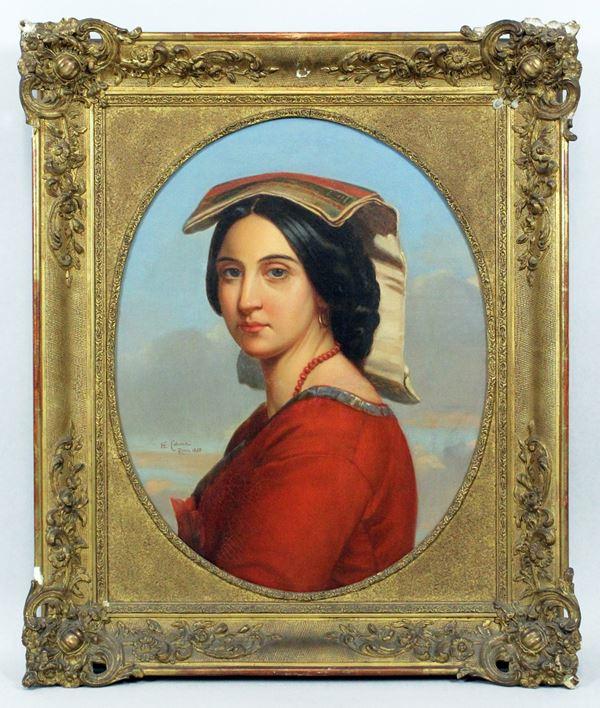 Enrico Coleman - Ritratto di donna in costume laziale, olio su tela, cm. 61x47, entro cornice.