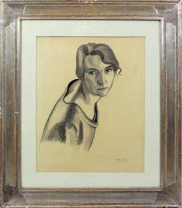 Mario Tozzi - Ritratto di ragazza, carboncino su carta riportata su tela, cm. 50x40, entro cornice, accompagnato da autentica su foto dell'archivio generale del maestro Mario Tozzi.
