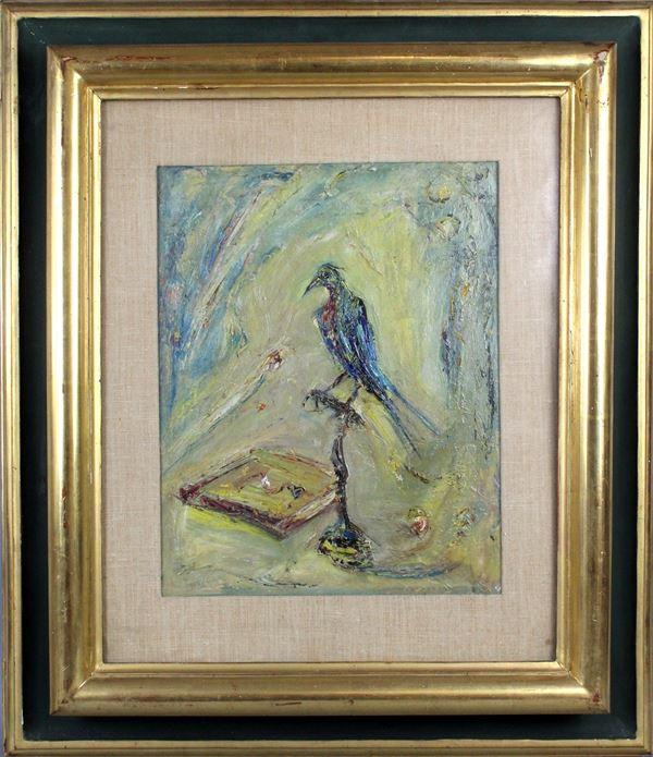 Giovanni Stradone - Uccello esotico, olio su cartone, cm. 40x32, entro cornice.