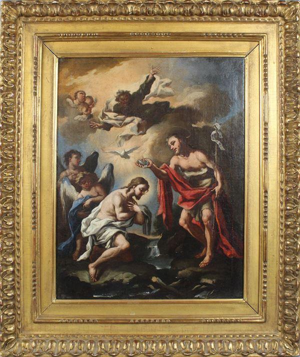Scuola Veneziana del XVII -XVIII secolo, Battesimo di Cristo, olio su tela, cm. 47x35,5, cornice XIX secolo, in legno e stucco dorato.