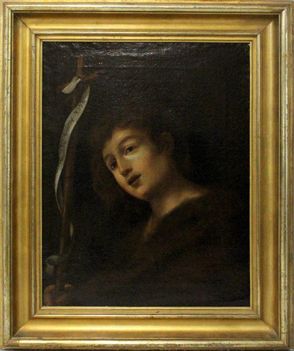 Scuola Italiana del XVII -XVIII secolo, San Giovanni Battista, olio su tela, cm. 62x49, cornice XIX secolo in legno e stucco dorato.