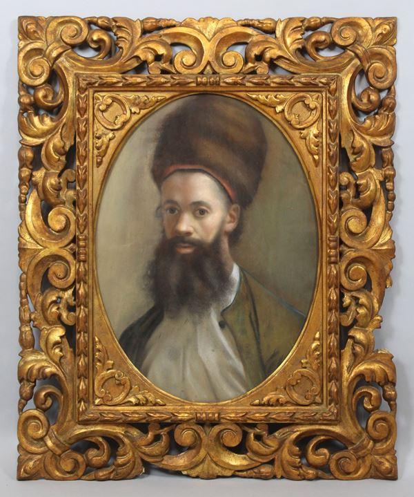 Ritratto d'uomo con colbacco, pastello su carta 61x48 cm, XIX sec, entro cornice.