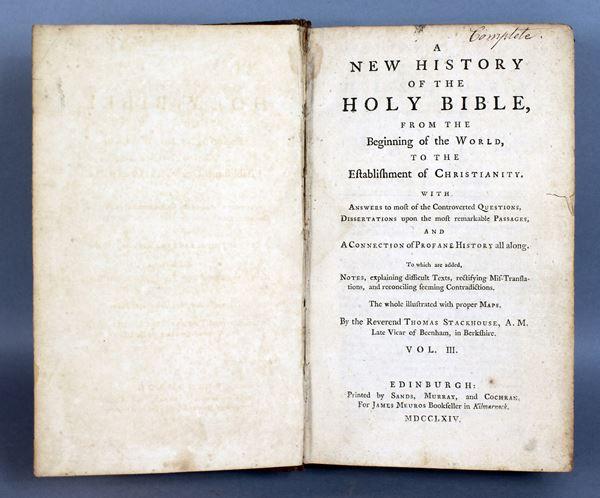 A New History of The Holy Bible, Edimburgo 1764.