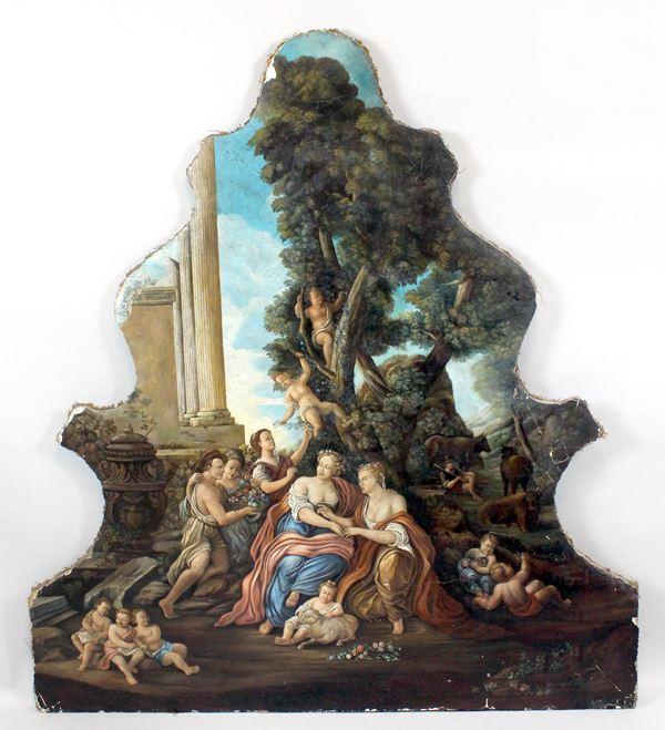 Capriccio con figure e rovine, antico dipinto su stucco riportato su tela, cm 146x133, (piccole cadute di pellicola pittorica ai margini)