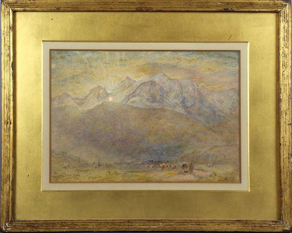 Paesaggio montano all'alba, acquarello su carta, cm. 21,5x31, firmato, entro cornice.