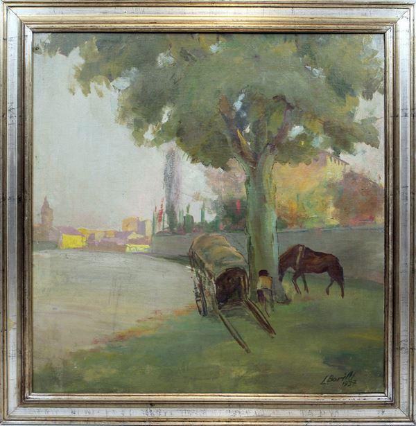 Latino   Barilli - Riposo sul lungo fiume, olio su tela riportata su tavola, cm. 70x67, entro cornice.