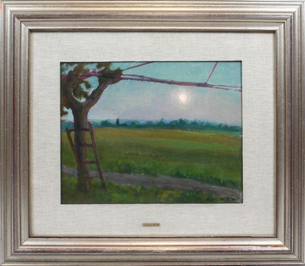 Aristide Barilli - Paesaggio, olio su masonite, cm. 35x45, entro cornice.