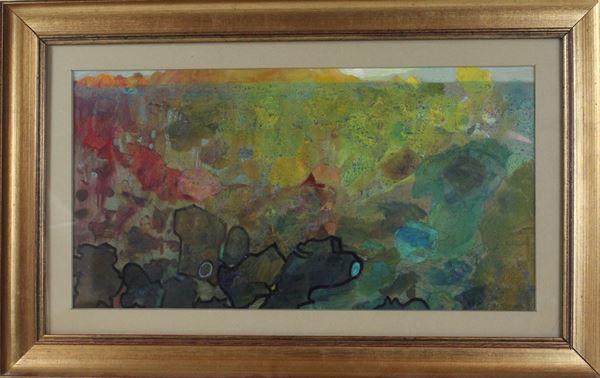 Aristide Barilli - Mare inquinato, tecnica mista su cartone, cm. 26x48, entro cornice.