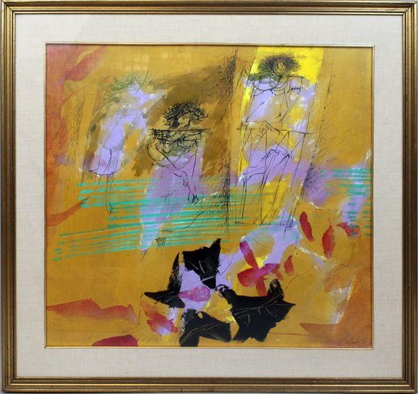 Ercole  Pignatelli - Figure, olio su tela, cm. 65x70, entro cornice.