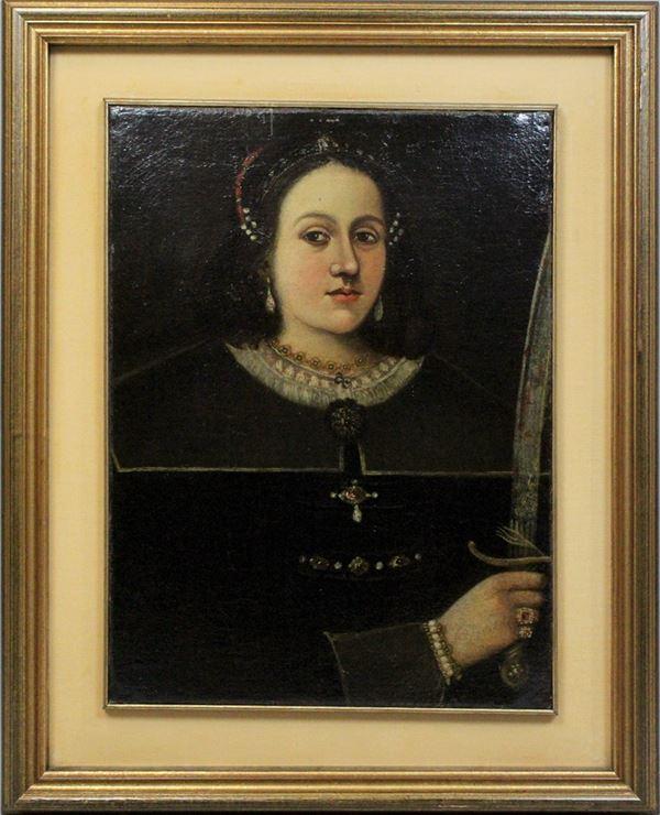 Santa Caterina d'Alessandria, olio su tela, cm. 63x46,3, XVII secolo, entro cornice.