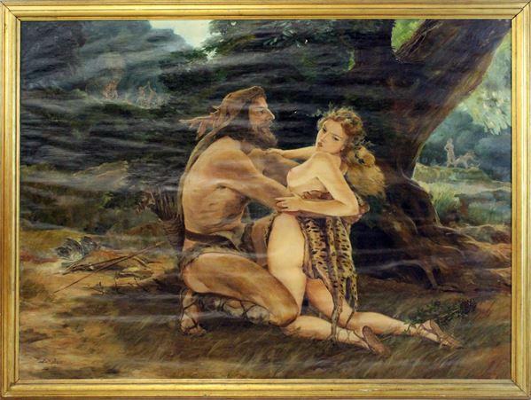 Arnaldo Malpieri - Richiamo primordiale, olio su tela, cm. 151x200, entro cornice.