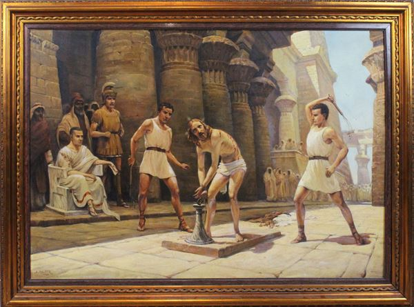Arnaldo Malpieri - La flagellazione, olio su tela, cm 95x135, entro cornice