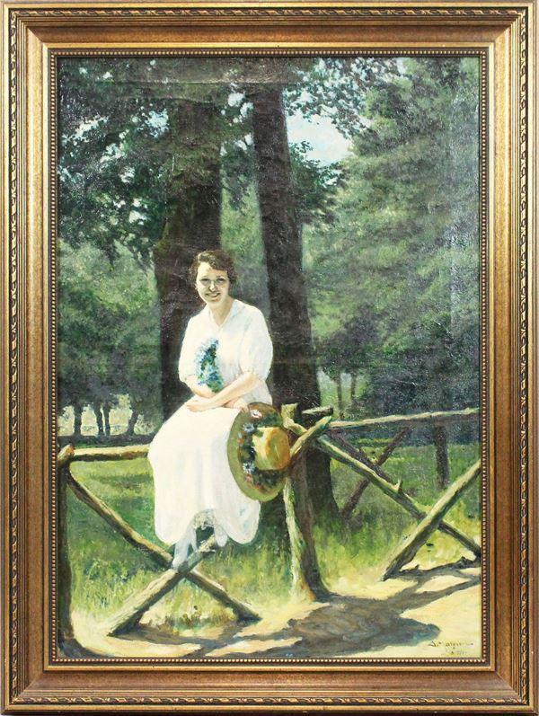 Arnaldo Malpieri - Villa Borghese con donna, olio su tela, cm 81x57, entro cornice