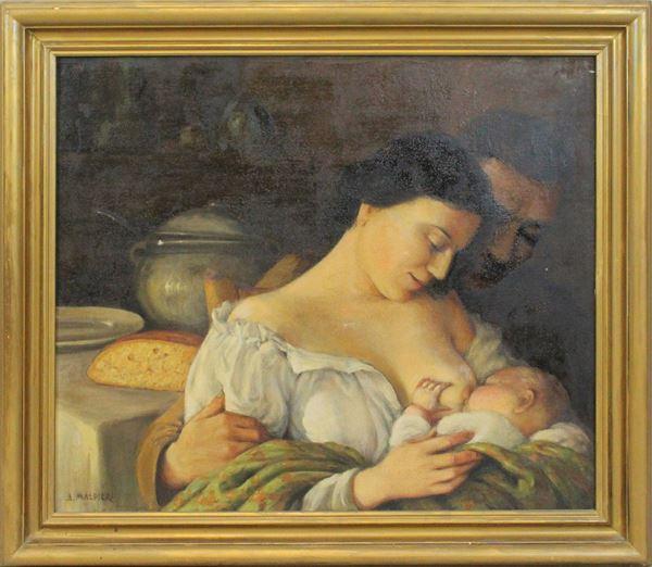 Arnaldo Malpieri - Maternità, olio su tela, cm 60x71, entro cornice