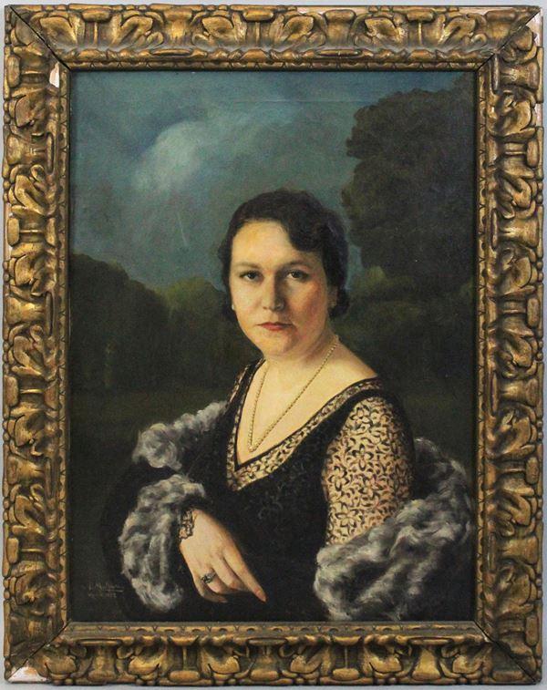 Arnaldo Malpieri - Ritratto di donna, olio su tela, cm 70x50, entro cornice