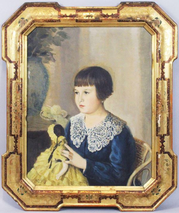 Arnaldo Malpieri - Ritratto di bambina con bambola, olio su tela, cm 70x55, entro cornice