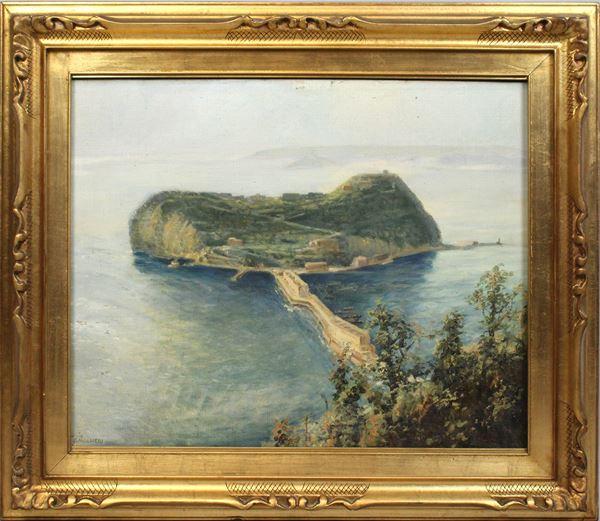 Arnaldo Malpieri - Isola di Nisida, olio su tela, cm 50x63, entro cornice
