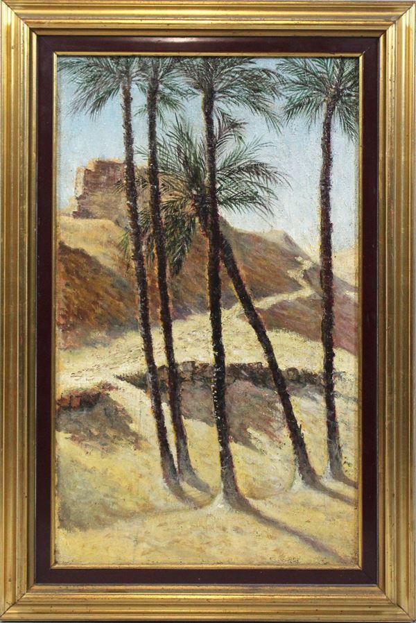 Paesaggio orientale, olio su tela, cm 51x30, entro cornice