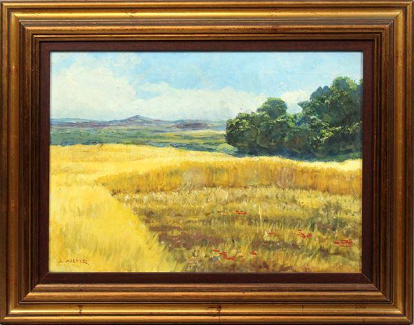 Arnaldo Malpieri - Paesaggio con campo di grano, dipinto ad olio su tela, cm 25x35, entro cornice