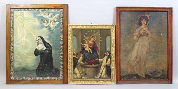 Lotto di tre oleografie a soggetti e misure diverse, dimensioni max 79x60 cm.