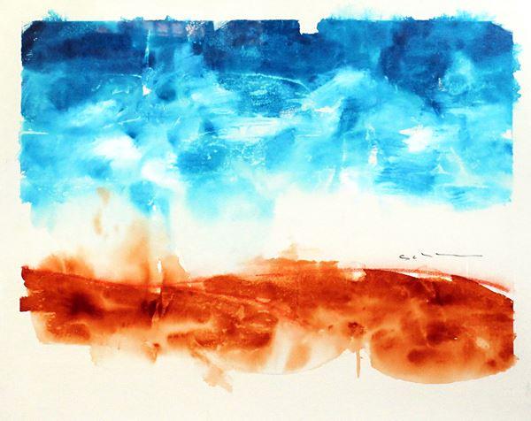 Mario Schifano - Senza titolo, smalto su tela, cm 80x100, entro cornice. Autentica della Fondazione Mario Schifano, n. 73-78/282, Roma 3 Giugno 2002