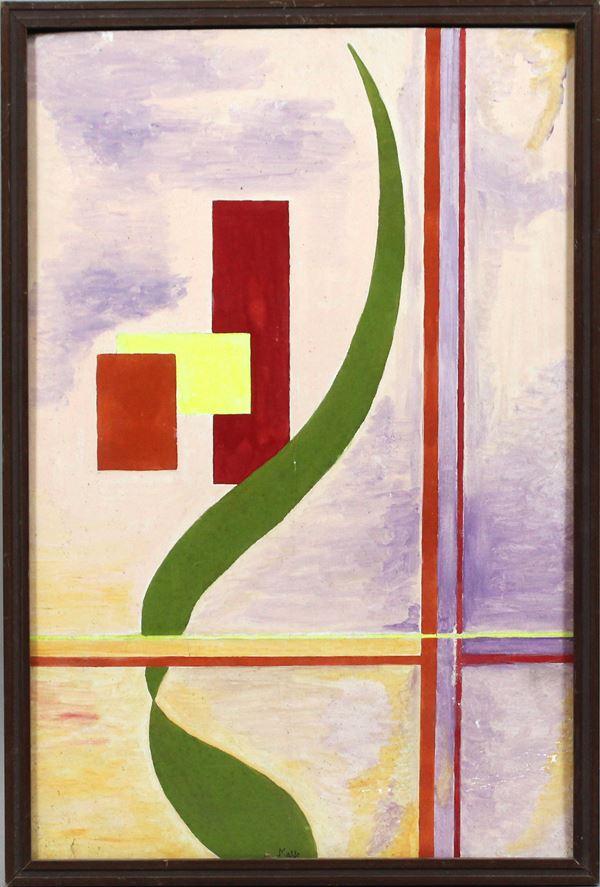 Astratto, olio su cartone telato, cm. 60x40, firmato, XX secolo, entro cornice.