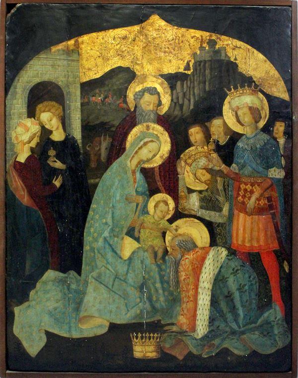 L'Adorazione dei Magi, antico dipinto della scuola fiorentina ad olio su tavola, cm. 125x90