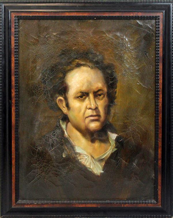 Autoritratto di Goya, olio su tela, XIX-XX secolo, cm. 80x60, entro cornice.