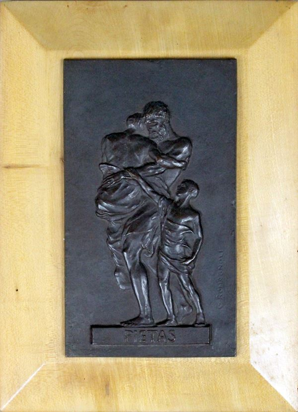 Giuseppe Romagnoli - Pietas, bassorilievo in bronzo, su supporto ligneo, cm 22,5x13