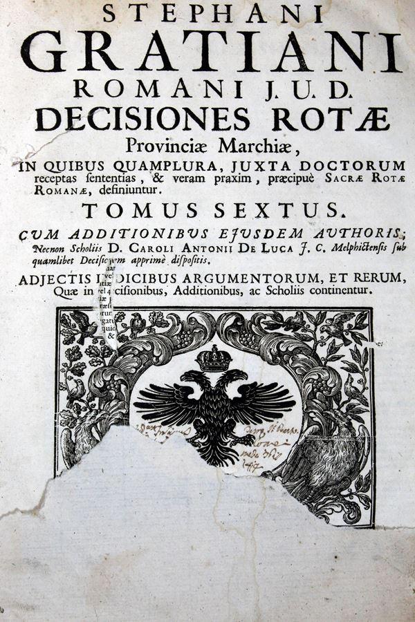 Disceptationium forensium Judiciorum di Stefano Graziani, Venezia, 1699, Vol. VI