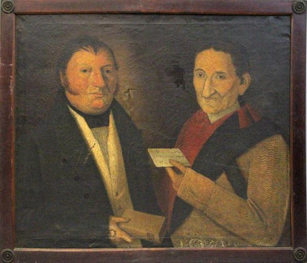 Pittore italiano del XIX secolo, doppio ritratto, olio su tela, cm. 77x90, entro cornice, (difetti e restauri).