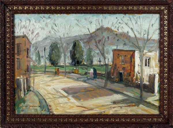 Scorcio di viale con figure, olio su cartone, cm. 31x45, firmato Guido Casciaro, entro cornice.