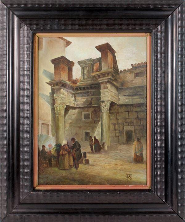 Scorcio di Roma con figure, olio su cartone telato, cm. 40x29,5, entro cornice.