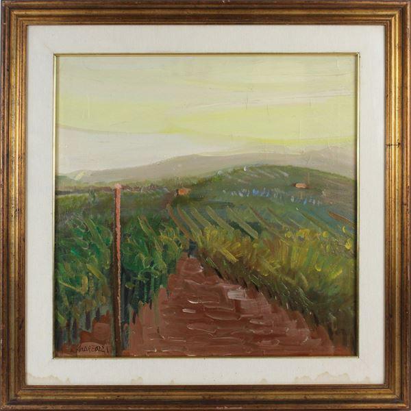 Marcello Andreozzi - Alba sulla palude, olio su tela, cm 50x50, entro cornice