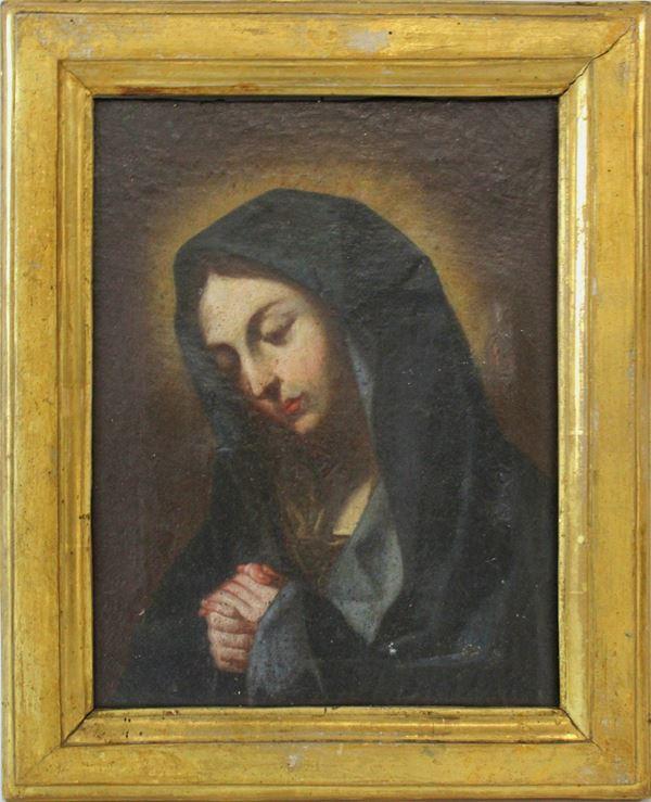 Pittore del XVIII secolo, Madonna in preghiera, olio su tela, cm. 23x18, entro cornice, (restauri).