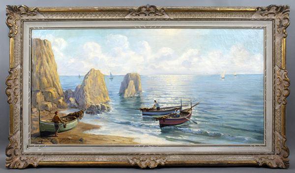 Marina con imbarcazioni, olio su tela, cm. 60x120, firmato, entro cornice.