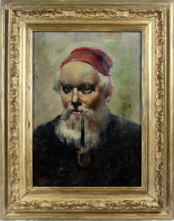 Uomo con pipa, olio su tela riportata su cartone, firmato Amisani, cm. 37x26, entro cornice.