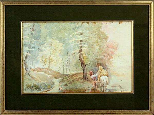 Paesaggio con cavaliere e dama, acquarello su carta, cm 24x36, firmato Pompeo Fabri, 1918, entro cornice.