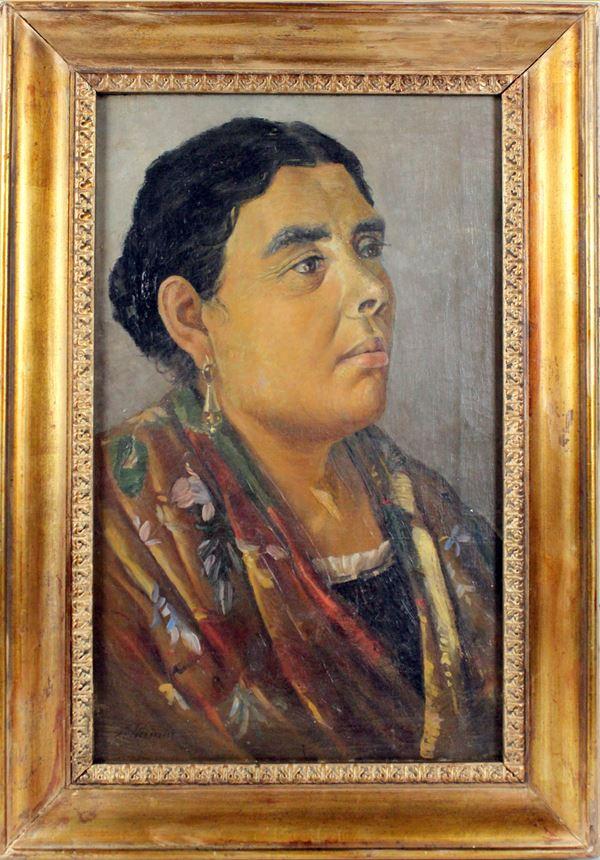 Ritratto di donna, olio su tela, cm 50x30, firmato A.Piccinni, entro cornice
