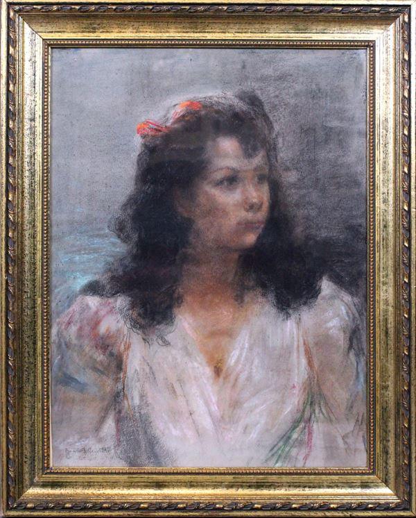 Ritratto di fanciulla, pastello su carta, cm 64x48, firmato Camillo Innocenti, entro cornice