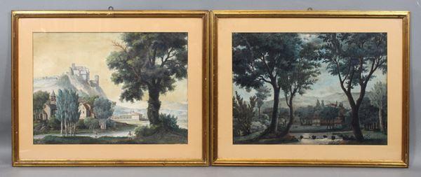 Coppia di paesaggi piemontesi, tecnica mista su carta, cm 39x54, a firma Giuseppe Camino