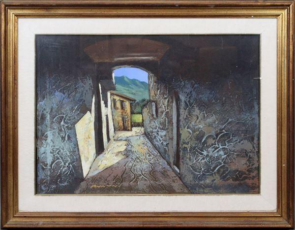 Pietro Vanni - Scorcio di vicolo, olio su tela, cm 70x50, entro cornice