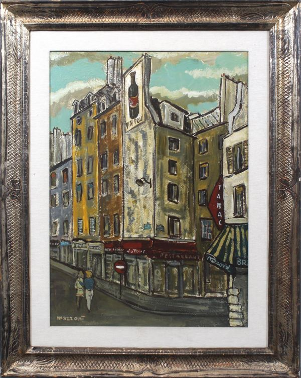 Carlo Mazzoni - Scorcio di Parigi, olio su tela, cm 70x50, etro cornice