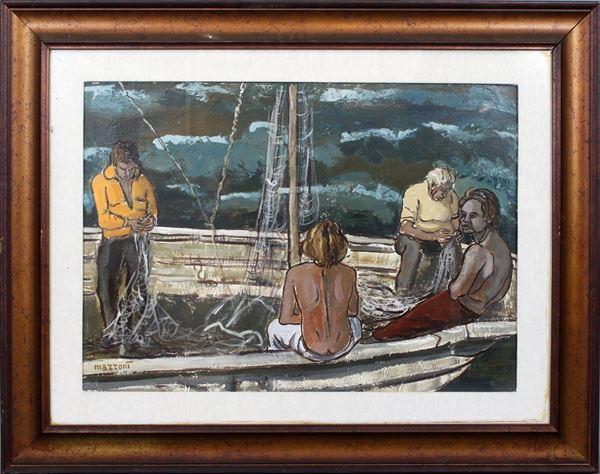 Carlo Mazzoni - Riparazione delle reti, olio su tela, cm 50x70, entro cornice